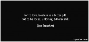 For to love, loveless, is a bitter pill: But to be loved, unloving ...