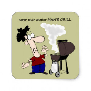 Funny Barbecue Cookout Quote Cartoon Cook Square Sticker
