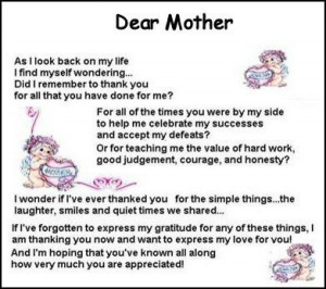 Mothers Poem Dear Mother