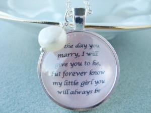 ... daughter on wedding day, daughter bride gift, quote pendant, original