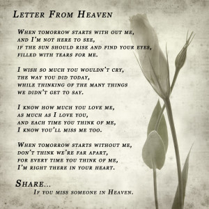 Letter from heaven.