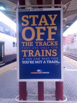 funny pictures tracks train sign wanna joke.com