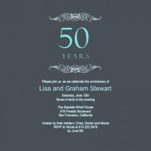 Gray And Teal 50th Wedding Anniversary Invitation