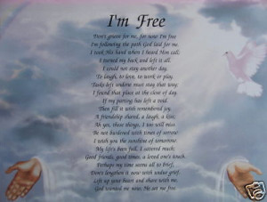 PERSONALIZED MEMORIAL POEM DONT GRIEVE FOR ME IM FREE For Sale - New ...