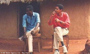 Habit: Obama, outside his family's Kenyan hut in an undated photo, has ...
