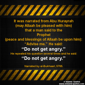 hadith on anger and Islamic quotes on anger