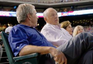 George W Bush L R Former U S President George W Bush talks with