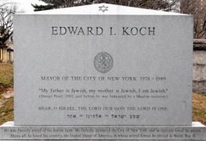 Koch's headstone: 'My father is Jewish, my mother is Jewish, I am ...