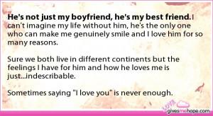 True love - He's not just my boyfriend, he's my best friend.