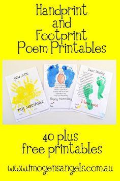 Kid's and Painting ~ Handprint and Footprint Poem Printable Bonanza ...