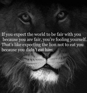 ... like expecting the lion not to eat you because you didn't eat him