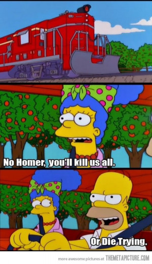 Funny photos funny Homer Marge driving train
