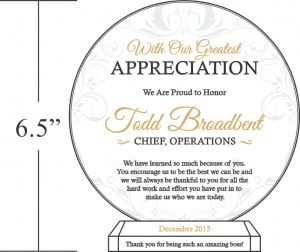 Appreciation Plaque Wording Samples