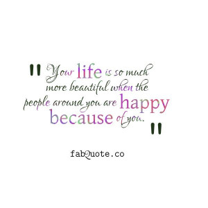"Happy because of you"" Quote"