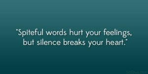 Spiteful words hurt your feelings, but silence breaks your heart ...