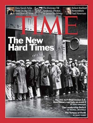 TIME》的封面是1931年大萧条时代芝加哥街头排队领取 ...