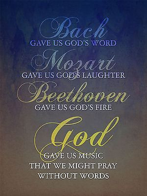 BACH MOZART BEETHOVEN GOD PRAY QUOTE RELIGIOUS TYPOGRAPHY BLUE POSTER ...