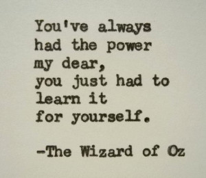 WIZARD OF OZ Quote Frank Baum Quote Typed on Typewriter power quote ...