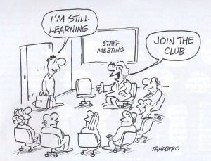 Staff meeting in a conference hall and welcoming a new guy- Jokes