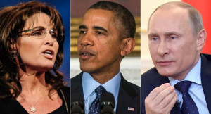 ... Palin (left), Barack Obama and Vladimir Putin are pictured. | Getty