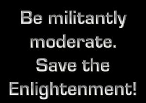 Be militantly moderate. Save the Enlightenment! -- David Brin