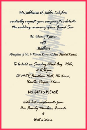 Hindu Marriage Invitation Quotes In English For Friends ~ Get Much ...