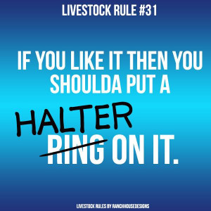 livestock rule 31 if you like it then you shoulda put a ring halter on ...