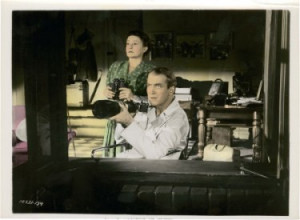 Voyeurs James Stewart and Thelma Ritter in Rear Window (1954)
