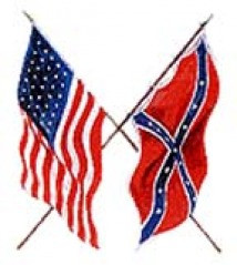 Picture of the Union and Confederate flags crossed, as a symbol of ...