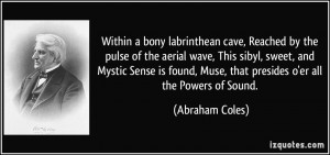 Within a bony labrinthean cave, Reached by the pulse of the aerial ...