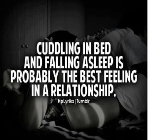 Cuddling in bed . . .