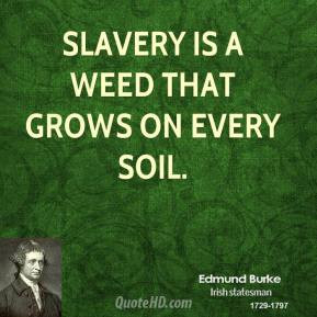 Edmund Burke - Slavery is a weed that grows on every soil.