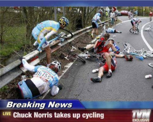 """... for a new sport! """"Breaking news – Chuck Norris takes up cycling"""