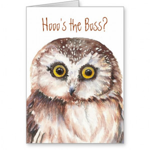 Funny Boss Birthday, Wise Owl Humour Cards