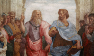 Detail of Plato and Aristotle from The School of Athens by Raphael ...