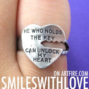 Love Quote Key Ring Silver - He Who Holds The Key Can Unlock My Heart ...