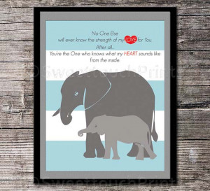 Elephant mom and the little one Love quote -