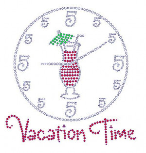 Vacation Time Quotes | Vacation Time rhinestone transfer Clear ...