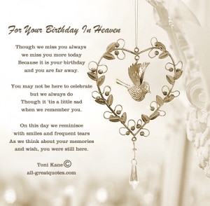 ... Birthday Cards For Lost Loved Ones – For Your Birthday In Heaven