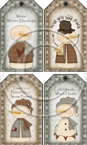 Warm Winter Snowman Instant Printable Colored Large Size Hang Tag