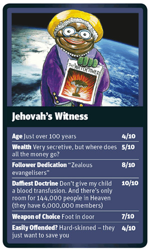 Funny World Religion Top Trumps Cards Jehovah's Witness Picture