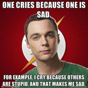 One cries because one is sad. For example, I cry because others are ...