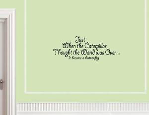 0493 JUST WHEN THE CATERPILLAR THOUGHT Vinyl wall lettering sayings