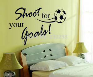 New Quote Football Shoot for Your Goals Stickers Wall Sticker Home ...