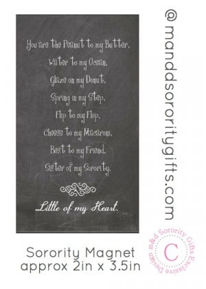 Sorority Sister Quote magnet. Greek magnets that touch the heart and ...