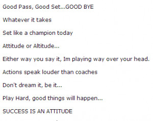 Volleyball Sayings And Quotes Volleyball sayings for success