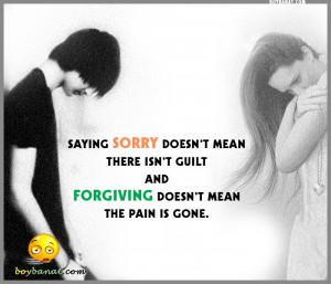 but I'm sorry that when i hurt you i hurt my self too.