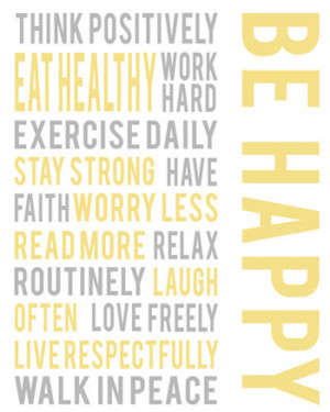 Gray white gold yellow wall art, Be happy positive life quotes ...