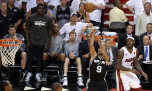 San Antonio Spurs' Tony Parker just beat the shot clock to make the ...