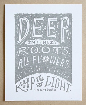 Illustrated Theodore Roethke Quote 8x10 Silkscreen Print
